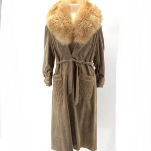 VTG. TAN SUEDE TIE FRONT FUR COLLAR TRENCH COAT XL